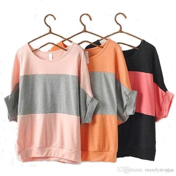 Wholesale-S-XXL plus size women tops summer style batwing sleeve loose stripe casual t shirt women batwing shirt blusas camisetastops