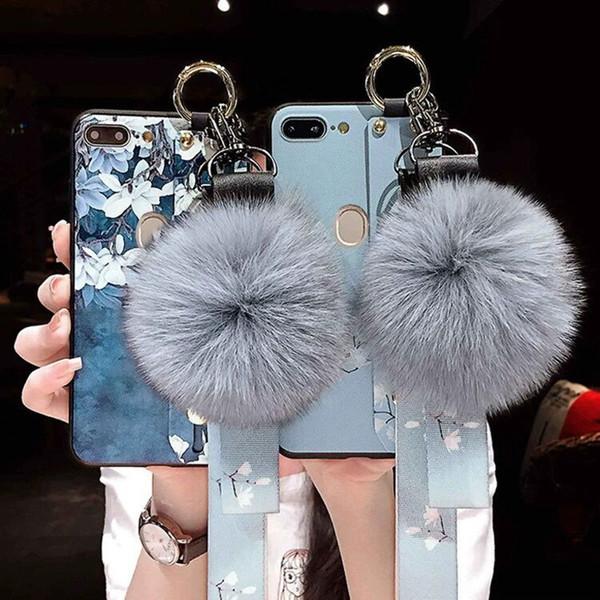 New hair ball mobile phone shell wrist strap bracket for vivoi PhoneXS oppo silicone sleeve lanyard