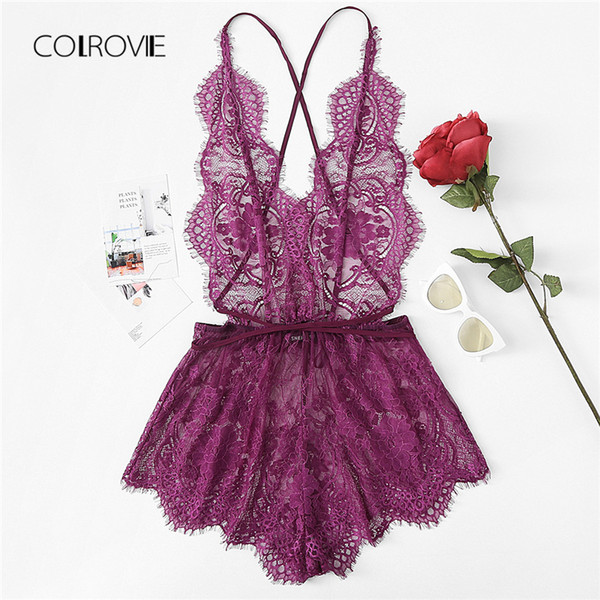 Colrovie Crisscross Open Back Eyelash Lace Teddy Summer Nueva Purple Lace Criss Cross Sexy ropa de dormir Mujer Ropa de dormir Sólido Y19051701
