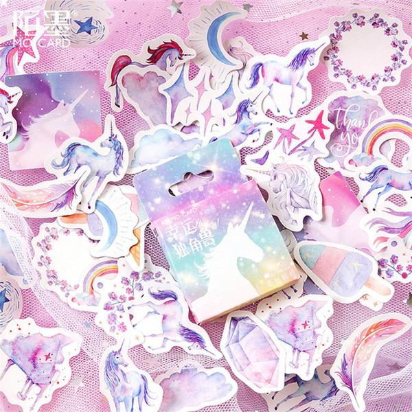 Sıcak Satış 45 adet / kutu Kawaii Unicorn Dizüstü Günlüğü Çizim Boyama Grafiti Kapak Kağıt Bloknot Ofis Okul Malzemeleri Hediye