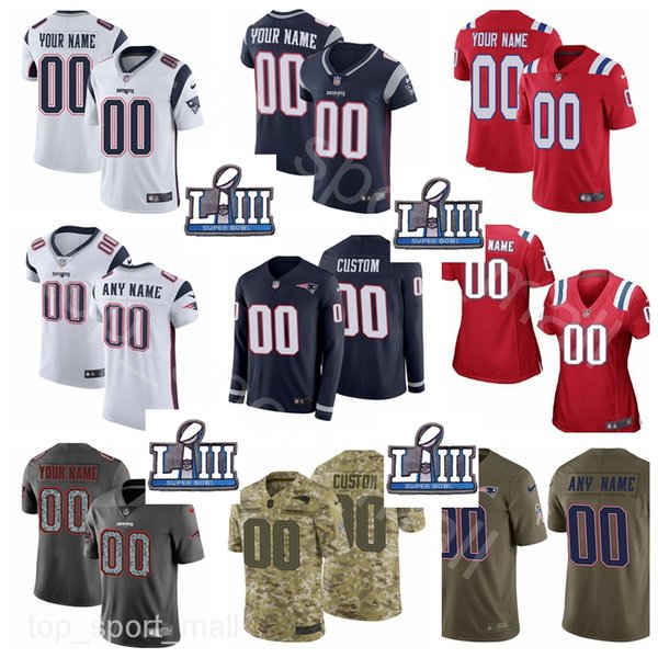 sports shoes b4dac e4c74 2019 Super Bowl Patch Custom Jersey Patriots Name Men Women Kids Sony  Michel James White Van Noy Cordarrelle Patterson McCourty Chung Hightower  From ...