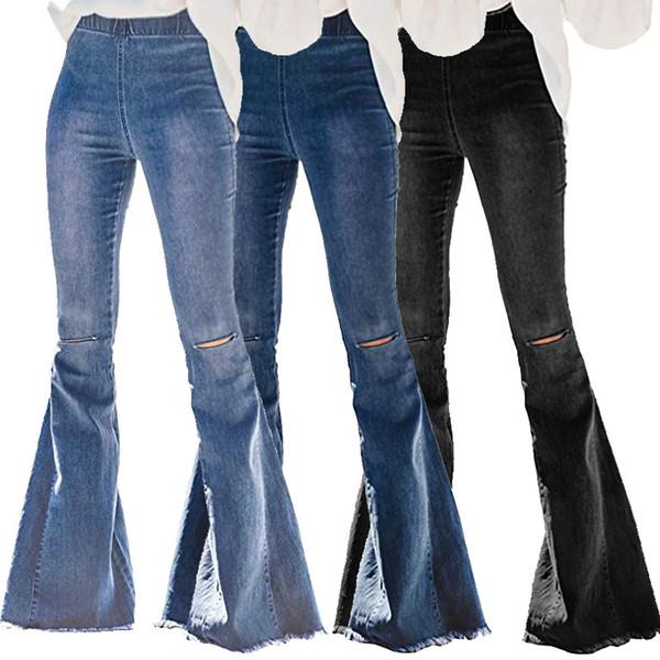 Femmes Ripped trou Flare Jeans Pantalons Slim Sexy Vintage bootcut Wide Leg Jeans évasés Bureau Lady-jupette Denim Pantalons CNY1636
