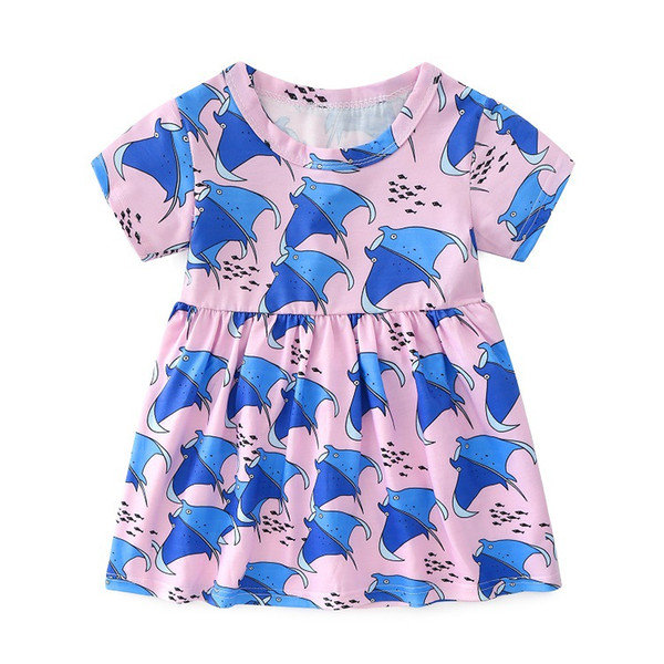 Latest Infant Baby Children's wear Good quality Casual cotton linen summer baby girl dresses style baby Pink Animals frock designs