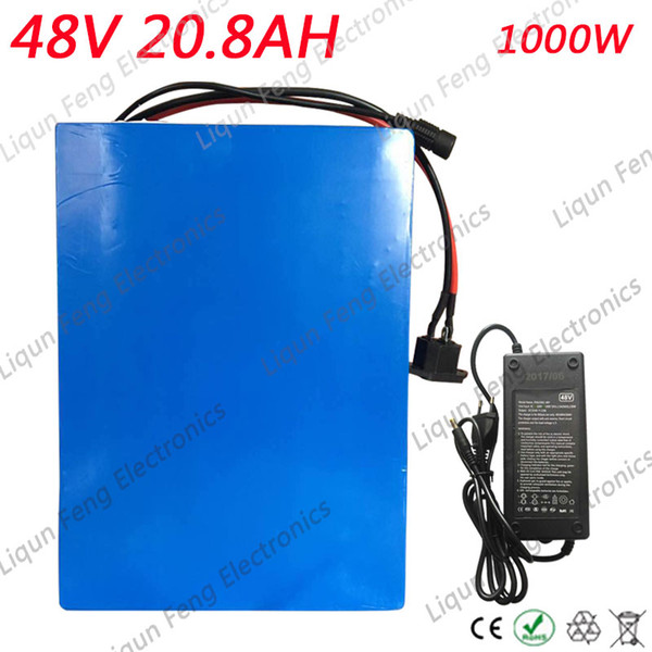 1000W 20AH 48V EBike Battery For 18650 Cell Built-in 30A BMS Lithium Battery 48V 20AH use 2A Charger Electric Bike Battery 48V