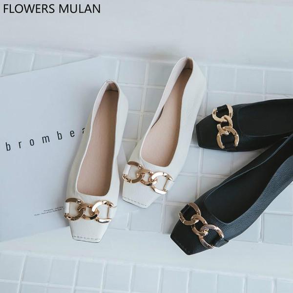 275aebd7785a52 Роскошные туфли женские дизайнеры черные белые кожаные женские мокасины  шикарный квадратный носок на удобной обуви мягкие резиновые каблуки Zapatos  дешево