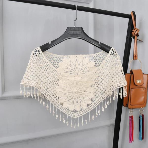 Compre 2018 Nuevas Mujeres Del Estilo Dulce Blanco Hueco Crochet ...