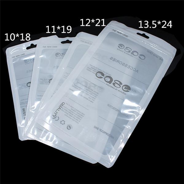 Sac de téléphone portable iPhone XR XS X Samsung cas en plastique d'emballage fermeture à glissière paquet de détail Zip Lock sacs poche avec Hang Hole diverses tailles 500pcs