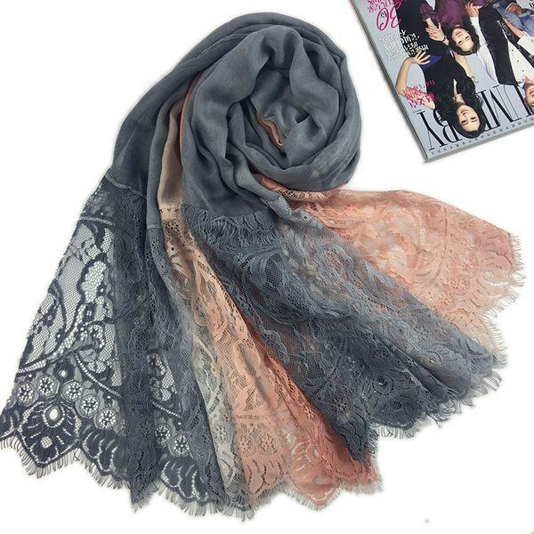 High quality ombre lace hijab scarf soft cotton headband scarves shawls islamic warps long maxi muslim scarves/scarf 210*100cm