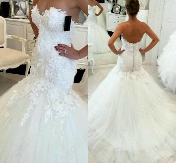 top popular Hot Sale 2019 New Lace Mermaid Wedding Dresses 2019 Appliques Sweetheart Bride Dresses Elegant Wedding Gowns 21 5000 Meerjungfrau Hochzeits 2019