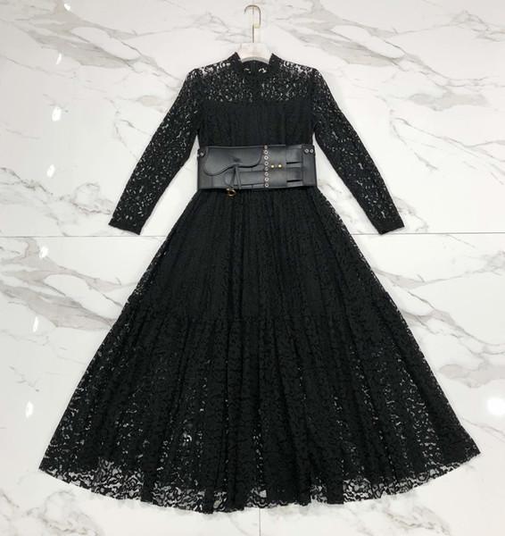 Designer 2019 Black Lace Langes Kleid High End Langarm Milan Runway Kleid Mit Original Schärpe 278282