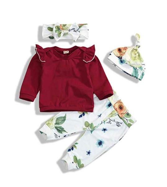 Headband Outfits Set Newborn Baby Girls Long Sleeve Lace Ruffle Romper Floral Pants