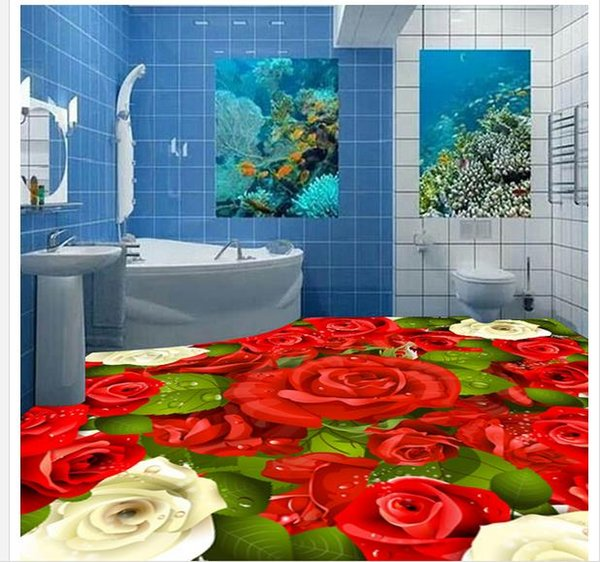 3d Rose Floor Decorative Painting 3d Bathroom Wallpaper Waterproof High Definition Desktop Wallpapers High Definition Hd Wallpapers From