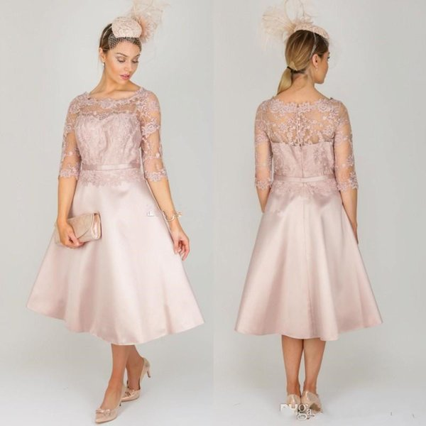 Elegant Dusty Pink Lace Mother Of The Bride Dresses With Half Sleeves Sheer Bateau Neck Wedding Guest Dress Tea Length Satin Evening Gowns Australia