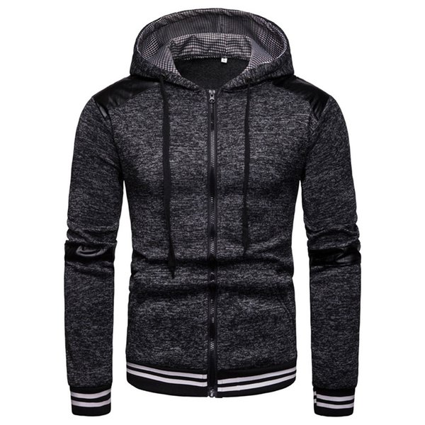 patchwork running jackets men hoodies autumn winter new style casual hooded sweater fashion spliced ribbon coat 2n27