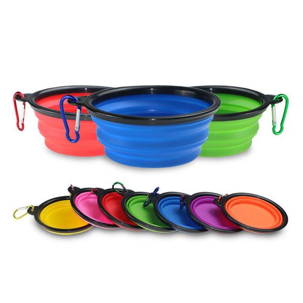 top popular Portable Travel Collapsible Dog Cat Feeding Bowl Pet Water Dish Feeder Silicone Foldable Bowl With Hook 2021