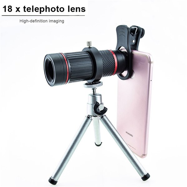 Optical zoom Telescope Lens Camera18X Monocular Mobilephone Telephoto Lenses Metal+ABS Telefon Len For iPhone X 6 7 8 Samsung