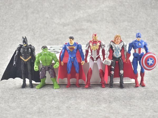 6 Pcs/Lot 10cm Anime Action Figure The Avengers Figures Super Hero Toy Doll Baby Hulk Captain America Thor Iron Man Kid Boy Birthday Gift