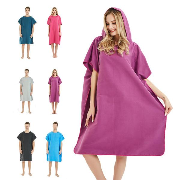 Accappatoio da spiaggia solido accappatoio da spiaggia accappatoi unisex con cappuccio accappatoi coperta mantello esterno capo facile per cambiare i vestiti GGA2034