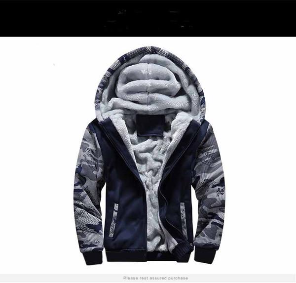 2018 modèles d'explosion hiver plus manteau de pull de sport de camouflage de cachemire grande taille veste chaude veste à capuchon pour hommes
