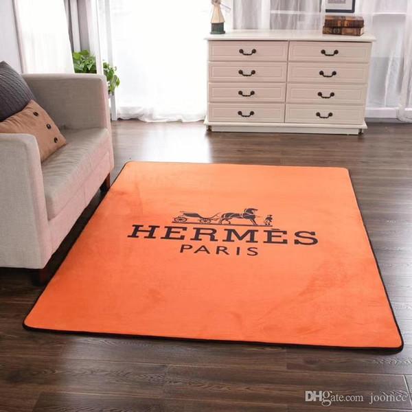 Felpa in tessuto H Letter Tappeto arancione New Fashion Horse Decoration Tappetino Cucina Brand Stampa antiscivolo