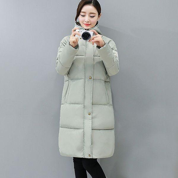 New Design Long Parkas Female Women Winter Coat Thick Cotton Winter Jacket Womens Outerwear Parkas Gray Black Celadon