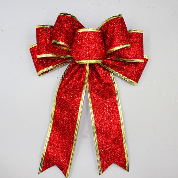 3 Color Large Red Silver Gold Sparkling Glitter Christmas Ribbon Bow Christmas Tree Decoration Handmade Ornament