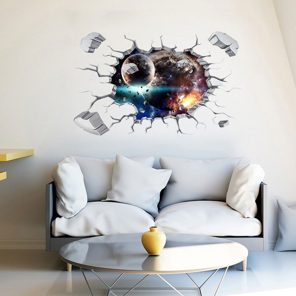 Outer Space Planets 3D Broken Wall Stickers Cosmic Galaxy Floor Decals For Kids Boy Room Baby Bedroom