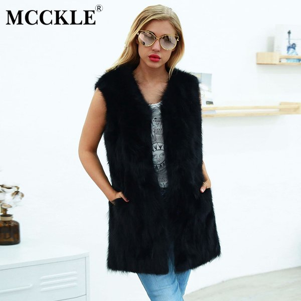 MCCKLE Women's Autumn Furry Faux Fur Long Vests 2018 Winter Female Fashion Outwears Ladies Sleeveless Solid Pockets Jacket Coats