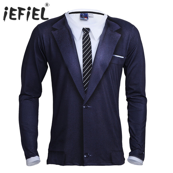 Tees T-Shirts iEFiEL Mens Long Sleeve Crew Neck 3D Printed Tie Tuxedo Stretchy T-Shirt Tops for Men Costume Party Clothes Tops