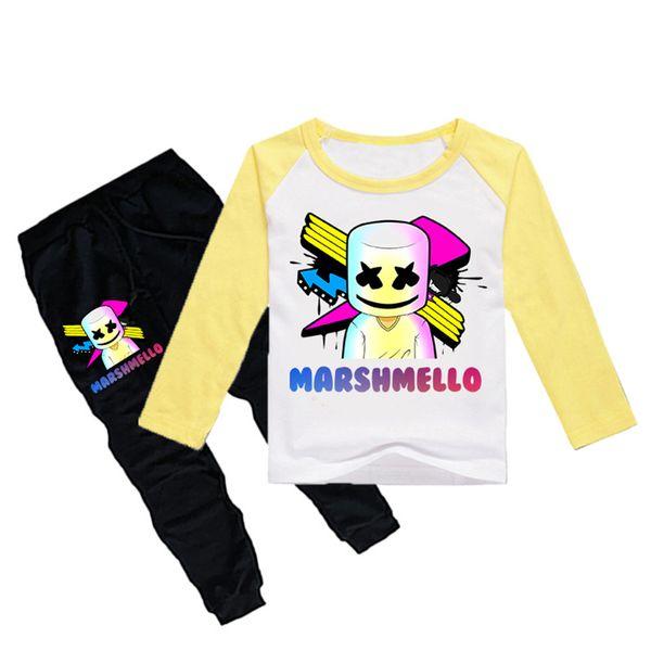 1-12Y Boys Girls long sleeves T-shirt + Trousers 2 Piece Sets DJ Marshmello Printed kids clothing sets kids designer clothes DHL JY111