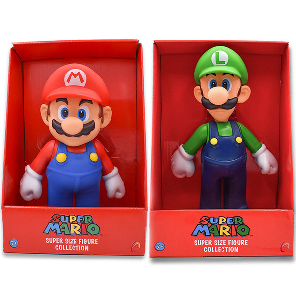 """2 Styles Free Shipping Super Bros Mario Luigi Pvc Action Figure Collection Toy Doll 9"""" 23cm New In Box Enema C19041501"""