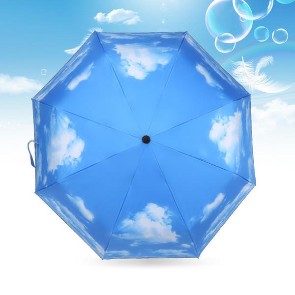 Portátil 70% de descuento sombrilla de los amantes de la moda del cielo azul paraguas pegamento negro anti-ultravioleta cielo azul cielo blanco paraguas de sol