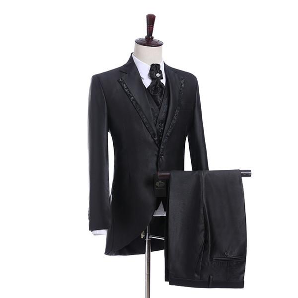 HOT - Charcoal Grey Groom Tuxedos Noch Lapel Groomsmen Mens Wedding Dress Excellent Man Jacket Blazer 3 Piece Suit(Jacket+Pants+Vest+Tie)685