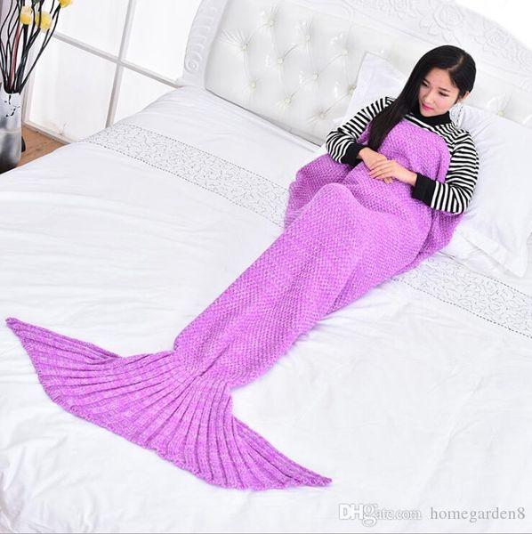 90 * 50 cm 180 * 90 cm Sereia Cauda Sereia Cauda Adulto Sofá Cobertor de Malha Quilt Tapete Cocoon Saco de Dormir Cobertores de Cauda 13 cor