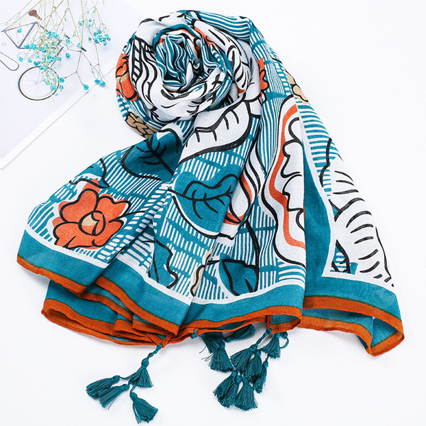 2018 new scarf original artistic cotton and linen scarf tassel long gauze towel large size sunscreen beach towel