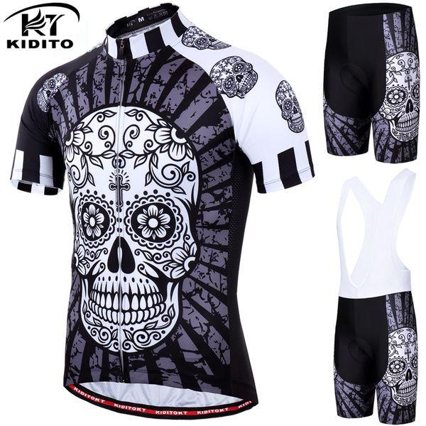 KIDITOKT 2019 Komik Bisiklet Forması Set Yaz Bisiklet Giyim Suit Kafatası MTB Dağ Bisikleti Giyim Yarış Bisiklet Giysileri Takım