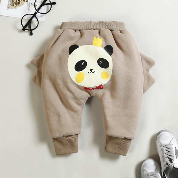 good quality thicken warm pants cartoon cotton fleece velvet trousers for girls leggings clothing boys casual full cartoon length