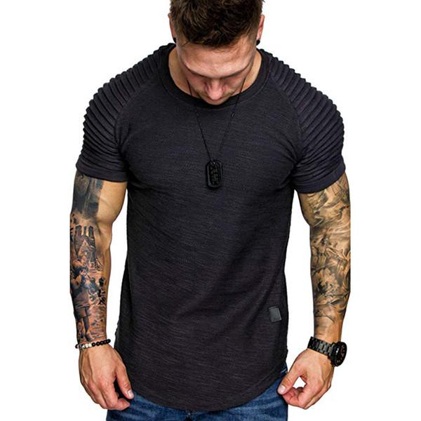 Mens Shoulder Pleated Design Round Neck Short Sleeved T-shirt Slim Fit Man Curved Hem Skinny Hip Hop Tshirt Streetwear