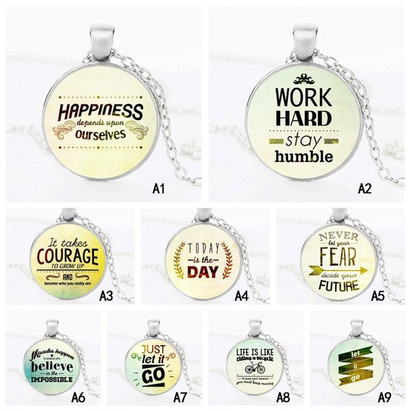 Personalized name Necklace Inspirational word Letter Round Glass Cabochon Pendant chain For women Men s Fashion Jewelry Gift