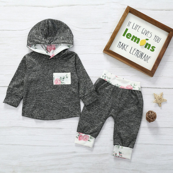 New Toddler Kids Baby Boys Infant Floral Clothes Hoodies Tops Pants Outfits Set