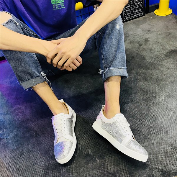 Luxury mens women low cut spike shoes glittered mens designer sneakers many style in stock women leather suede crystals flats