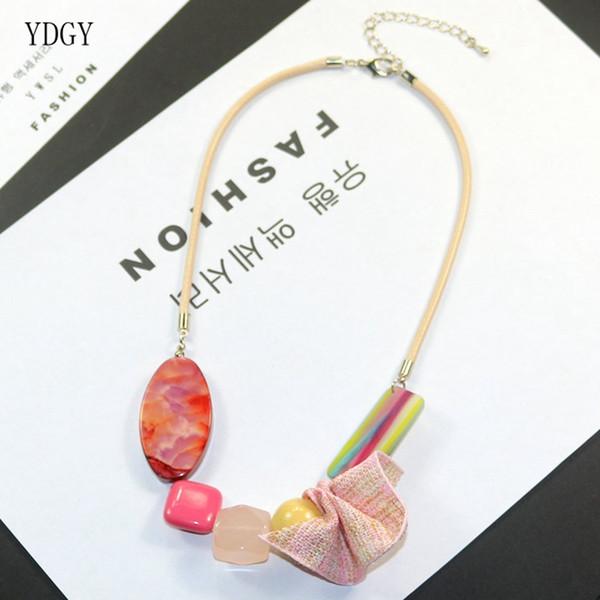 YDGY Nouvelle Mode Mixte Couleur Rayure Acrylique Coton et Lin Ruban Accessoires Collier Femme Chaîne De Clavicule Fabricant Grossiste