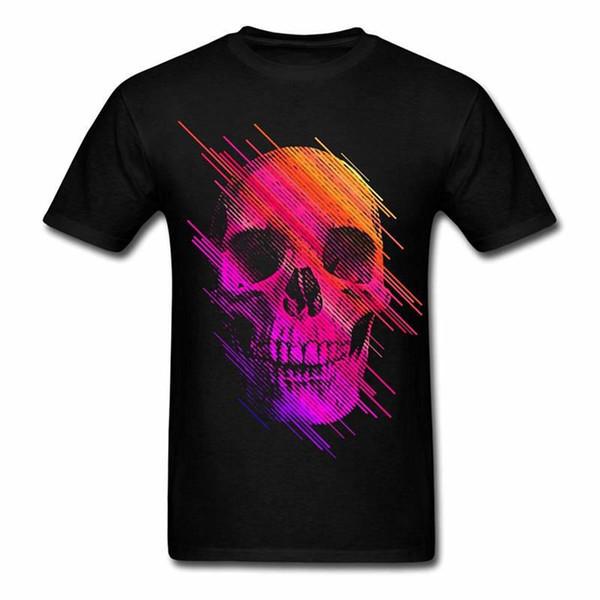 Loose Crew Neck Men Short-Sleeve Best Friend Colorful Rainbow Skull Shirts
