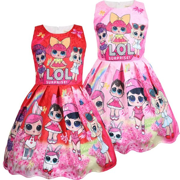 Sommer neue Mädchen Baby große Augen Puppe Prinzessin Cartoon Anime Kleid Kinder ärmellose Baumwolle gefüttert Prinzessin Kleid