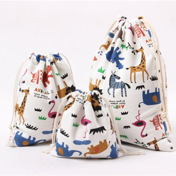 best selling Cartoon Animals Printed Storage Bags Baby Clothing Kids Toys Organizer Drawstring Candy Bags Cotton Linen Jewelry Cosmetic Pouch