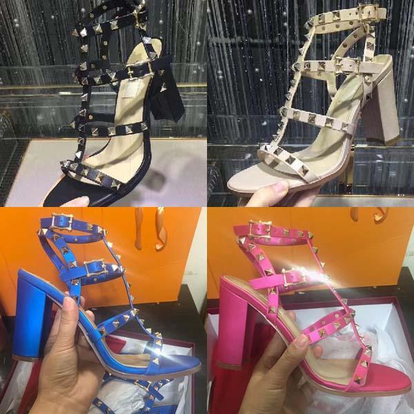 Nova 2019 de alta qualidade sapatos de marca de estilo Europeu de couro importado sandalsdesigner feminino tem tag chinelos femininos moda feminina de salto alto