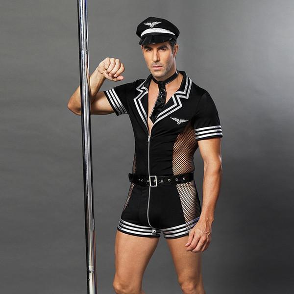 Sexy Halloween Costumes Adulte Amérique Police Américaine Dirty Cops Officer Costumes Top Shirt Fantaisie Cosplay Vêtements pour Hommes 6609