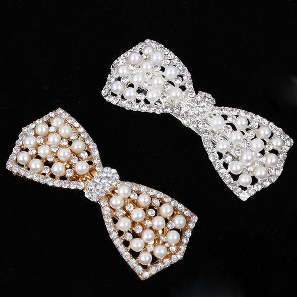 Ragazza delle donne Fashion Elgant Crystal Bow Clip di capelli Barrettes bride party vaction Tornante Barrette Perla Capelli Gioielli Accessori Regalo Caldo