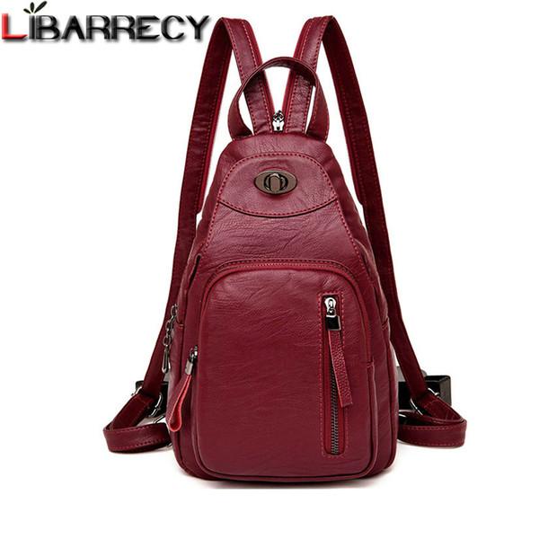 Casual Backpack Female Brand Leather Women's Backpack Designer Shoulder Bags For Women 2018 Travel Backbag Chest Bag Mochila Y19061004