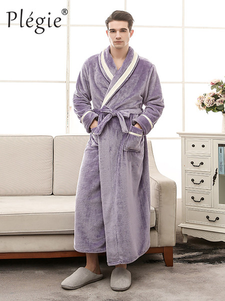 Plegie 2018 Men Winter Flannel Patchwork Bathrobe Sleepwear Female Solid Shawl Robe Unisex Loose Couple Thick Warm Bath Robe